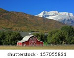 Red Barn In A Mountain Valley ...