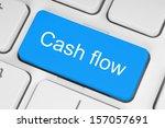 blue cash flow button on white... | Shutterstock . vector #157057691