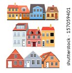 houses of different colors and...   Shutterstock .eps vector #157059401
