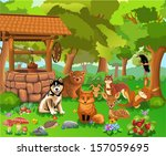 animals living in the forest | Shutterstock .eps vector #157059695