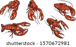 Set Of Lobster By Hand Drawing...