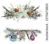 watercolor christmas natural... | Shutterstock . vector #1570673824