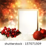Blank Christmas Card With Red...