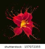 Bright Flower With Red Splashe...