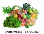 a shopping basket full of fresh ... | Shutterstock . vector #15707302
