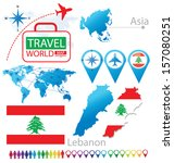 Republic of Lebanon. flag. Asia. World Map. Travel vector Illustration.