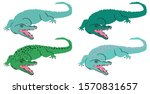 set of stylized crocodiles for... | Shutterstock .eps vector #1570831657