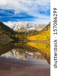 maroon bells and its reflection ... | Shutterstock . vector #157086299