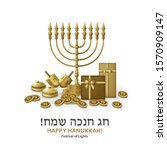 hanukkah greeting card with... | Shutterstock .eps vector #1570909147