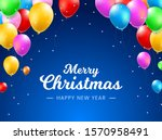 colorful party balloons and... | Shutterstock .eps vector #1570958491