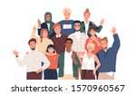 multicultural team flat vector... | Shutterstock .eps vector #1570960567