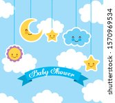 baby shower card with set icons ... | Shutterstock .eps vector #1570969534