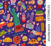 cartoon seamless pattern with... | Shutterstock .eps vector #157098131