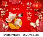 cute mouse sit on gold ingot...   Shutterstock . vector #1570981681
