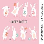 easter greeting card with cute... | Shutterstock .eps vector #1571022517