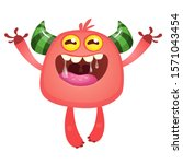 funny cartoon monster. vector... | Shutterstock .eps vector #1571043454