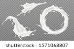 milk splashes set  yogurt or... | Shutterstock .eps vector #1571068807