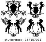 set of heraldic shields with... | Shutterstock .eps vector #157107011