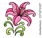 illustration of decorative lily.... | Shutterstock .eps vector #1571072107