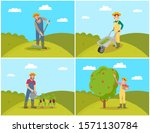 farmer with compost trolley ... | Shutterstock . vector #1571130784