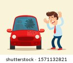 broken car windshield. angry... | Shutterstock .eps vector #1571132821