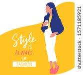 stylish beautiful girl in...   Shutterstock .eps vector #1571185921