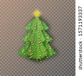 christmas tree on an isolated... | Shutterstock .eps vector #1571193337