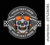 skull motorcycle logo badge ... | Shutterstock .eps vector #1571236381