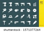 Electric Tools Solid Icons Set. ...