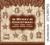 vintage christmas card with... | Shutterstock .eps vector #1571385751