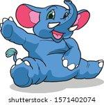 happy elephant cartoon vector...   Shutterstock .eps vector #1571402074