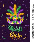 mardi gras party greeting or... | Shutterstock .eps vector #1571409967