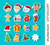 christmas sticker icon... | Shutterstock .eps vector #1571411197