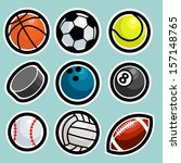 set of sport balls icons | Shutterstock . vector #157148765