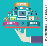 flat concept of media market... | Shutterstock .eps vector #157153187