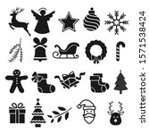 christmas icons set. vector... | Shutterstock .eps vector #1571538424