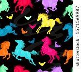 vector. running horses seamless ... | Shutterstock .eps vector #1571569987