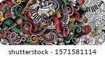 music hand drawn doodle banner. ... | Shutterstock .eps vector #1571581114
