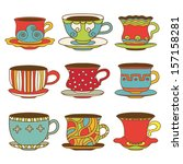 set icons tea   coffee cups  ... | Shutterstock .eps vector #157158281