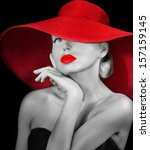 Pretty Girl In Red Hat With Re...