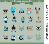 Animals Hipster Set   Isolated...