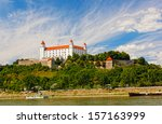 medieval castle on the hill... | Shutterstock . vector #157163999