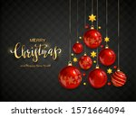 red christmas balls and shiny... | Shutterstock . vector #1571664094