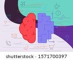 artificial digital brain... | Shutterstock .eps vector #1571700397