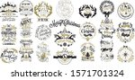 hand drawn christmas and new... | Shutterstock .eps vector #1571701324