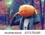 Halloween Girl With Pumpkin Head