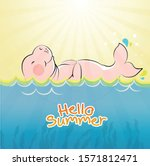 dugong vector with seagrass on... | Shutterstock .eps vector #1571812471