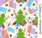 christmas seamless pattern can... | Shutterstock .eps vector #157183871