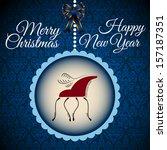 blue christmas postacrd with...   Shutterstock .eps vector #157187351