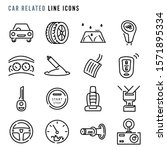 Car Related Line Icons  Pixel...